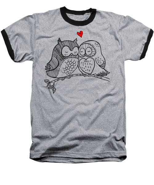 Baseball T-Shirt featuring the digital art Owls In Love 121 by Ericamaxine Price
