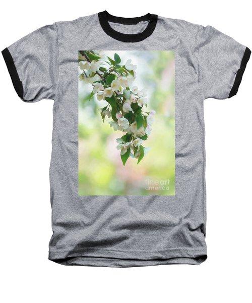 Painted Crabapple Blossom Cascade Baseball T-Shirt