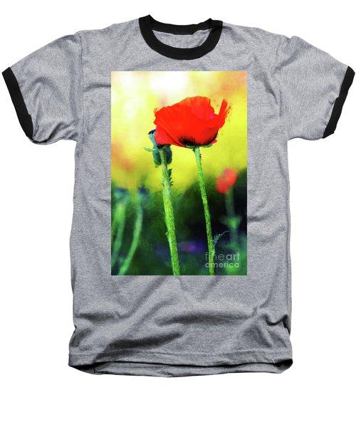Painted Poppy Abstract Baseball T-Shirt