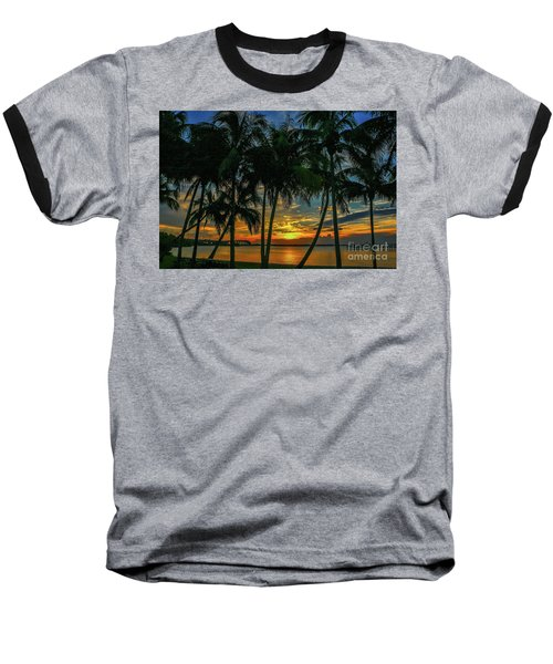 Palm Tree Lagoon Sunrise Baseball T-Shirt