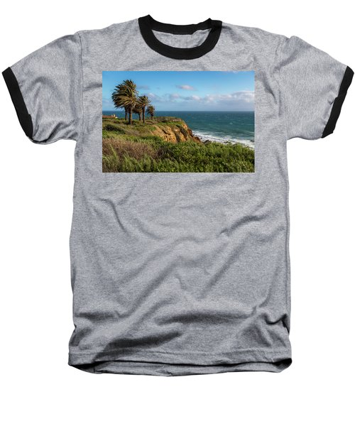 Palm Trees Blowing In The Wind Baseball T-Shirt