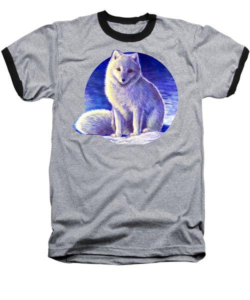 Peaceful Winter Arctic Fox Baseball T-Shirt