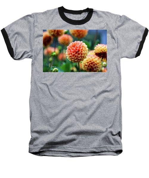 Peach Dahlias Baseball T-Shirt