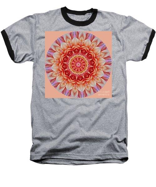 Peach Floral Mandala Baseball T-Shirt