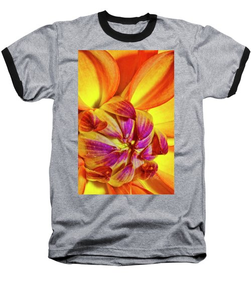 Peach Purple Flower Baseball T-Shirt