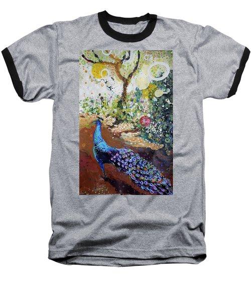 Peacock On Path Baseball T-Shirt