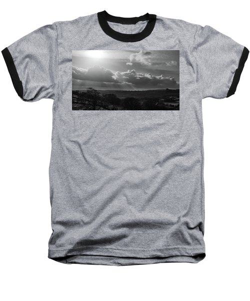 Peak District From Black Rocks In Monochrome Baseball T-Shirt