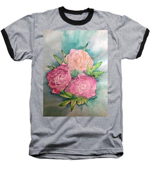 Peonie Roses Baseball T-Shirt