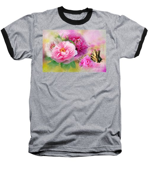 Peonies And Butterfly Baseball T-Shirt