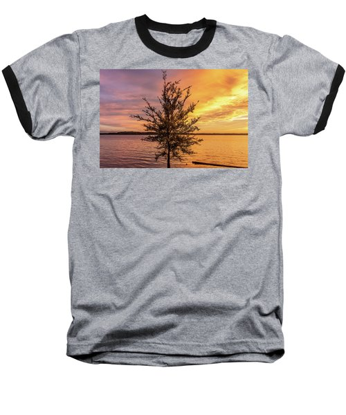 Percy Priest Lake Sunset Young Tree Baseball T-Shirt