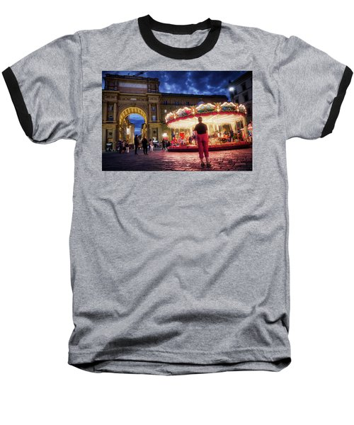 Baseball T-Shirt featuring the digital art Piazza Della Reppublica At Night In Firenze With Painterly Effects by Eduardo Jose Accorinti