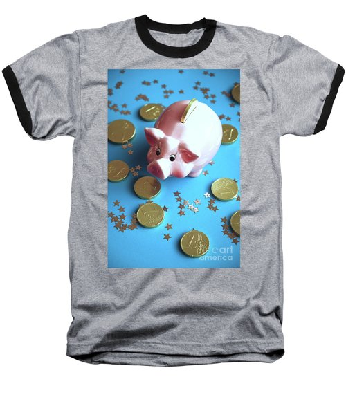 Piggy Bank On The Background With The  Chocoladen Coins Baseball T-Shirt