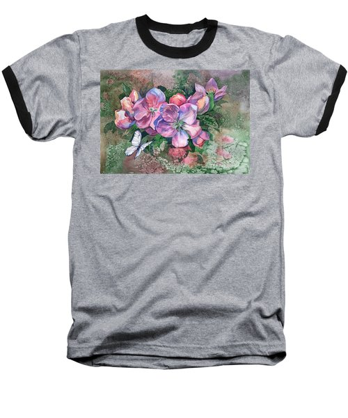 Pink Bloom Apple Tree And Butterfly Baseball T-Shirt