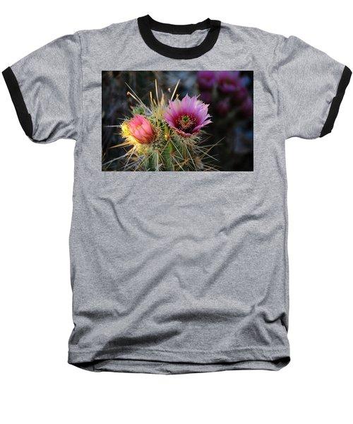 Pink Cactus Flower Baseball T-Shirt