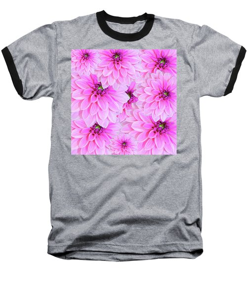 Pink Dahlia Flower Design Baseball T-Shirt