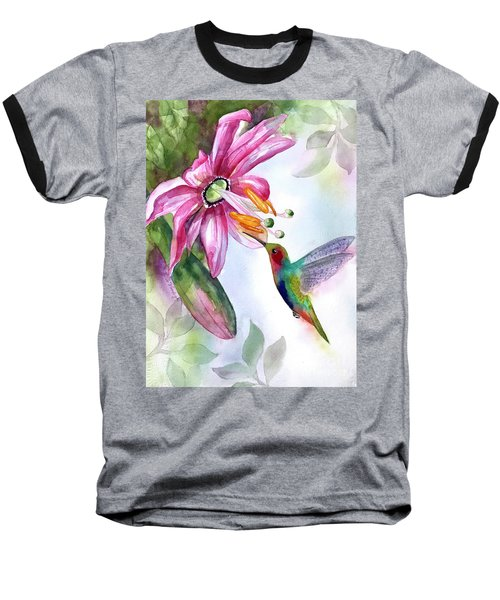 Pink Flower For Hummingbird Baseball T-Shirt
