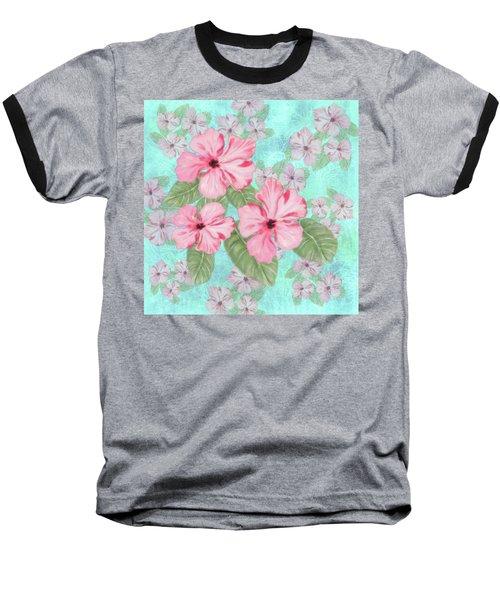 Pink Hibiscus Print On Aqua Baseball T-Shirt