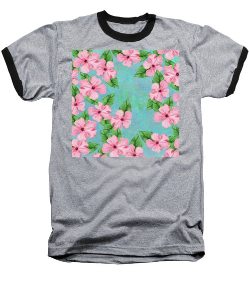 Pink Hibiscus Tropical Floral Print Baseball T-Shirt