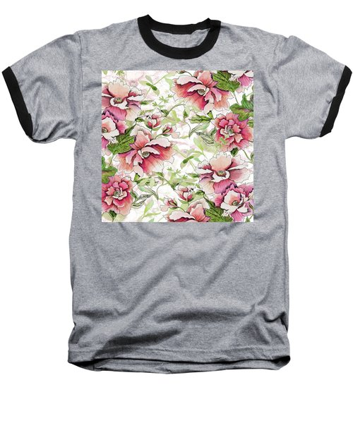 Pink Peony Blossoms Baseball T-Shirt