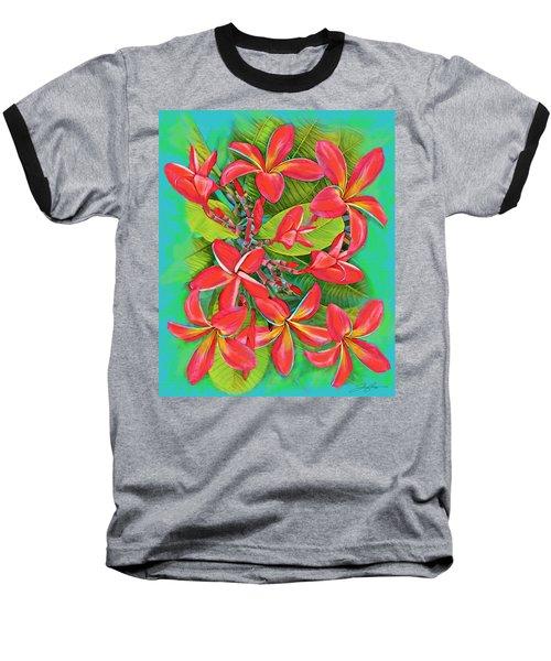 Plumeria Sunburst Baseball T-Shirt