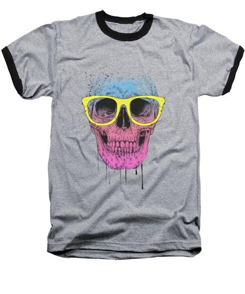 Pop Art Skull With Glasses Baseball T-Shirt