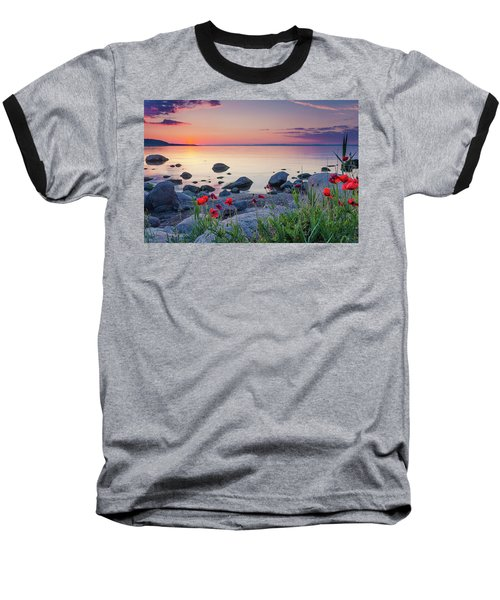 Poppies By The Sea Baseball T-Shirt