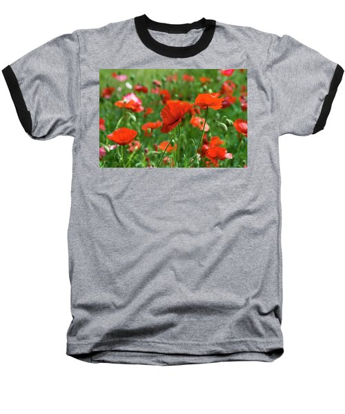 Poppies In The Field Baseball T-Shirt