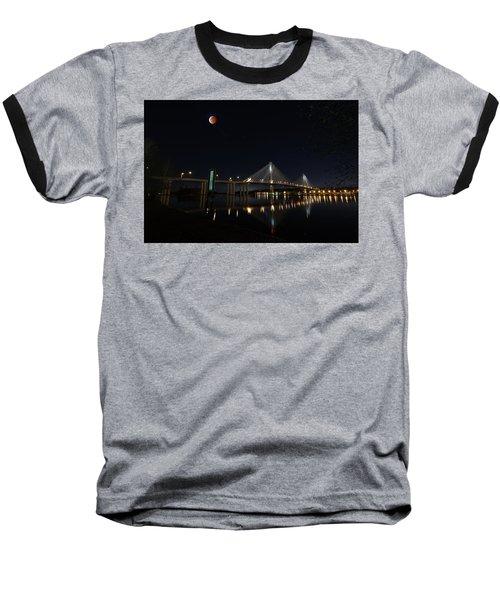 Port Mann Bridge With Blood Moon Baseball T-Shirt