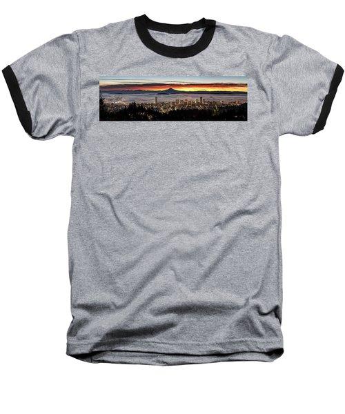 Portland Foggy Sunrise Baseball T-Shirt