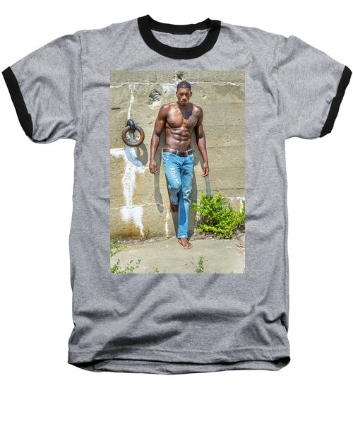Portrait Of  Young Black Fitness Guy Baseball T-Shirt