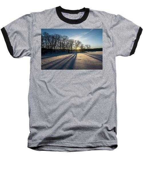 Pretty Winter Sun Rise Scene Baseball T-Shirt