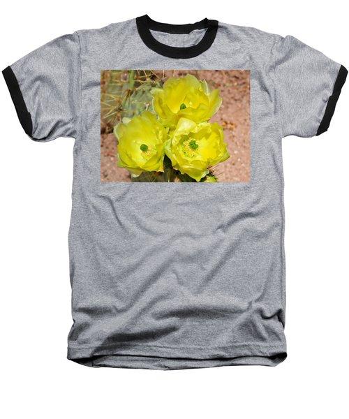 Prickly Pear Cactus Trio Bloom Baseball T-Shirt