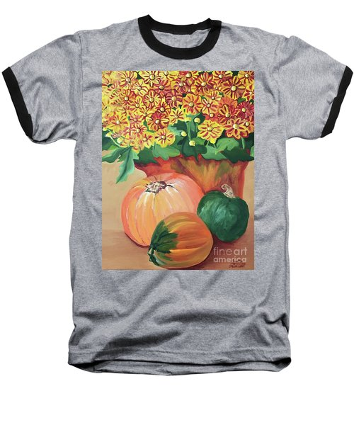 Pumpkin With Flowers Baseball T-Shirt