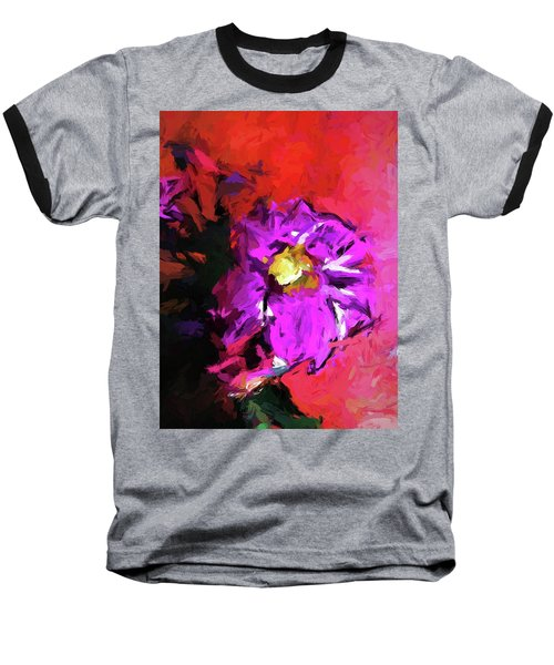 Purple And Yellow Flower And The Red Wall Baseball T-Shirt