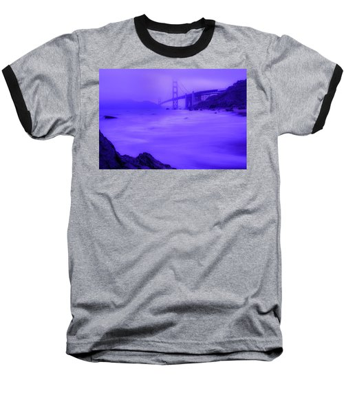 Purple Golden Gate Fog Baseball T-Shirt