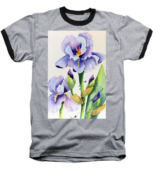 Purple Iris And Buds Baseball T-Shirt