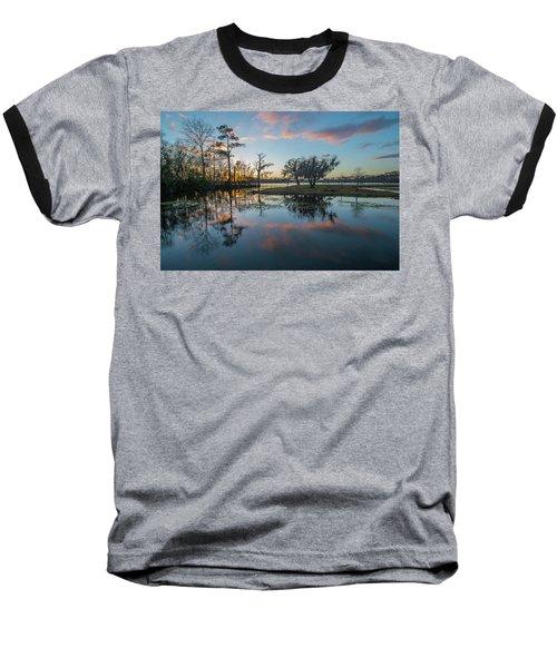 Quiet River Sunset Baseball T-Shirt