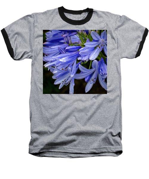 Rain Drops On Blue Flower II Baseball T-Shirt