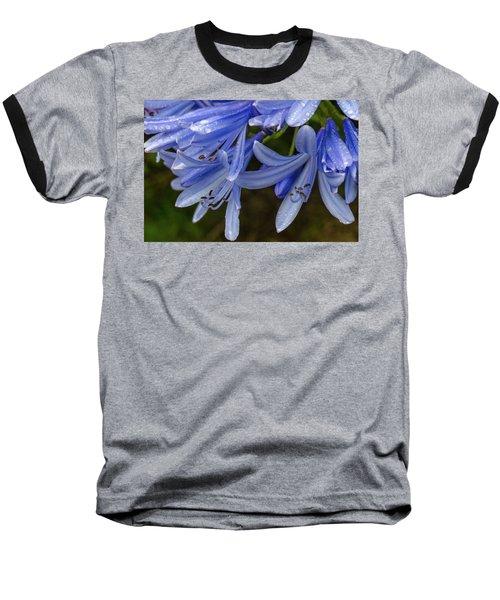 Rain Drops On Blue Flower Baseball T-Shirt