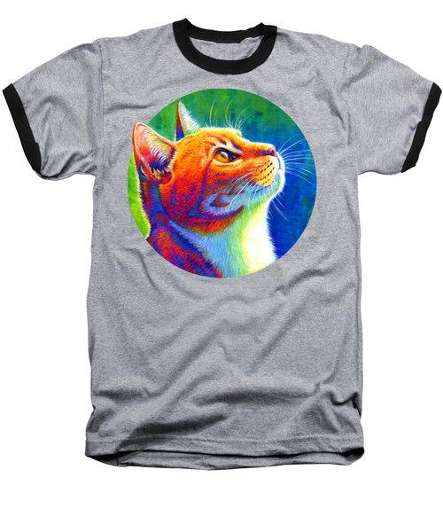 Rainbow Cat Portrait Baseball T-Shirt