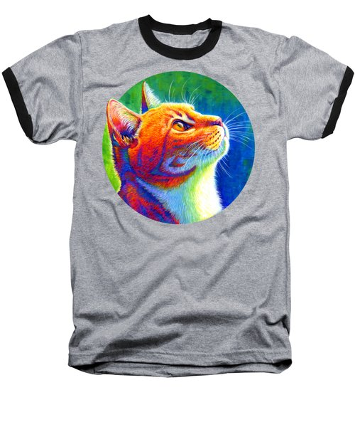 Rainbow Cat Portrait Baseball T-Shirt