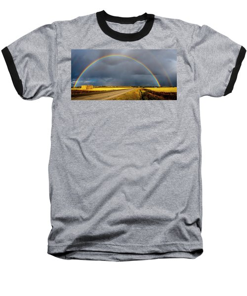 Rainbow Over Crop Land Baseball T-Shirt