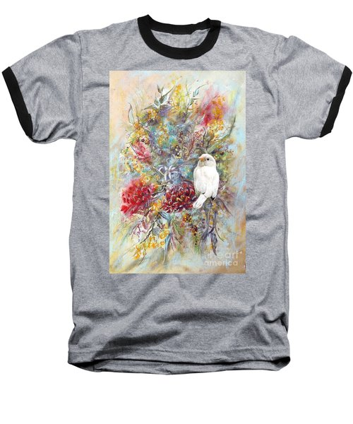Rare White Sparrow - Portrait View. Baseball T-Shirt