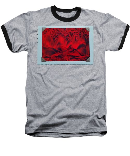 Red And Black Encaustic Abstract Baseball T-Shirt
