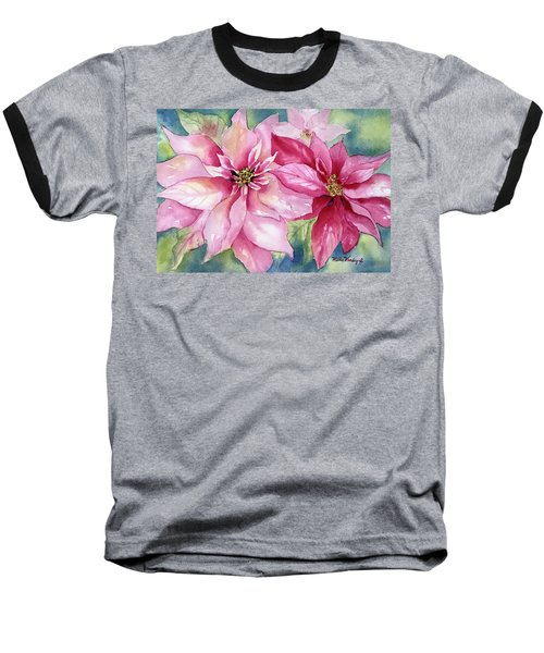 Red And Pink Poinsettias Baseball T-Shirt