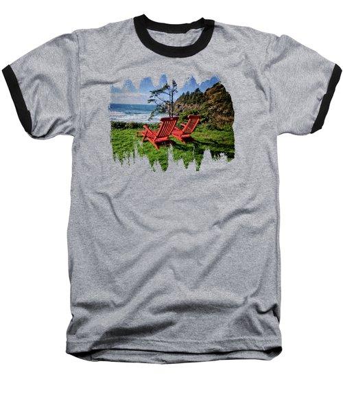 Red Chairs At Agate Beach Baseball T-Shirt