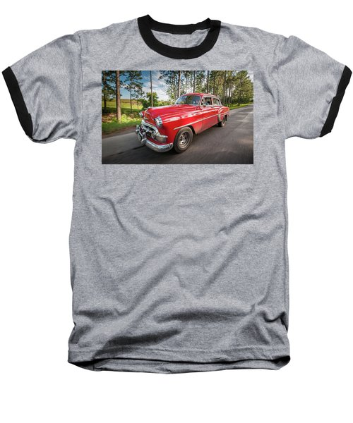 Red Classic Cuban Car Baseball T-Shirt