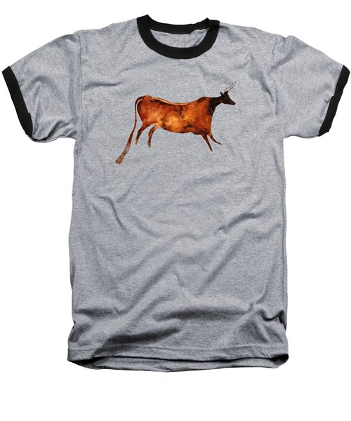 Red Cow In Beige Baseball T-Shirt