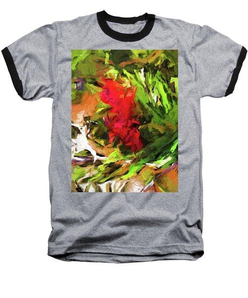 Red Flower On The Branch Baseball T-Shirt