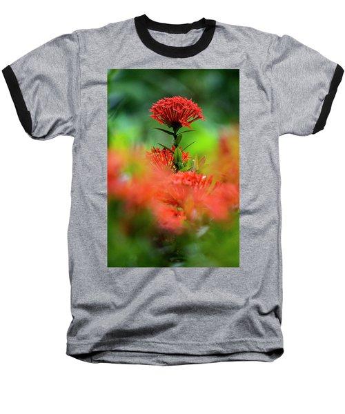 Red Flower Baseball T-Shirt